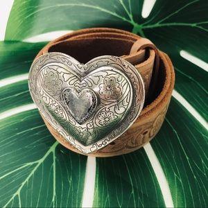 Heart Buckle Belt embossed floral detail  Sz Large